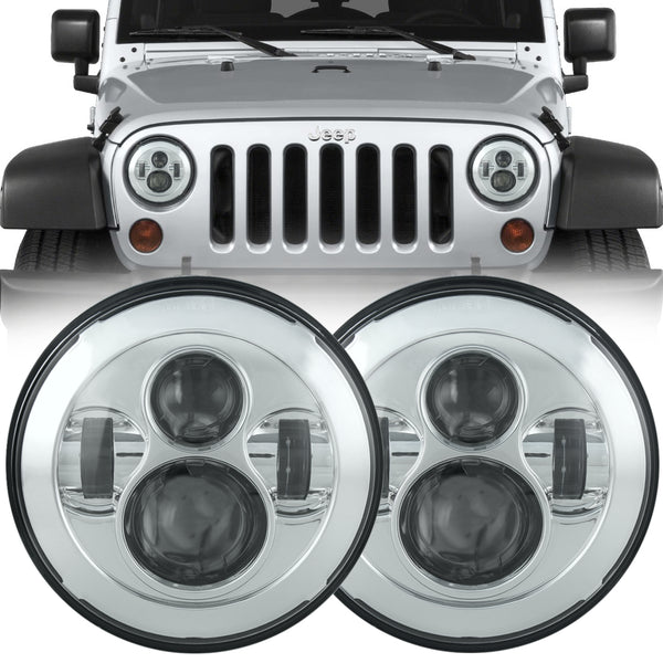 Eagle Lights Generation I Chrome LED Headlight Kit for 1997-2018 Jeep Wrangler JK, JKU, TJ