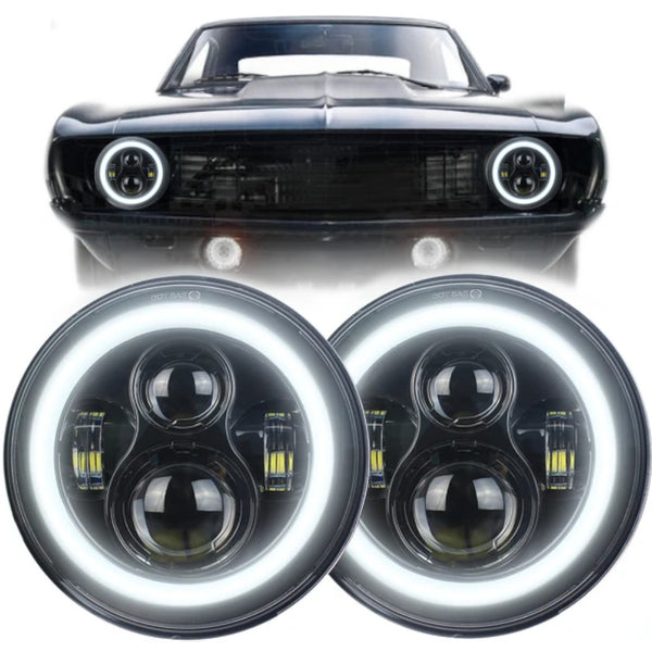 "Eagle Lights Generation I LED Projector 7"" Headlight Kit with Halo Rings for 1967-1981 Chevrolet Camaro"
