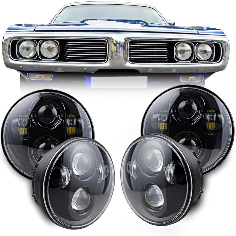 Eagle Lights Black Projector LED Headlight Kit for 1958 - 1982 Dodge Charger