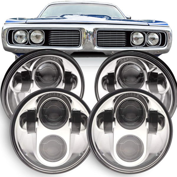 Eagle Lights Chrome Projector LED Headlight Kit for 1966 - 1974 Dodge Charger