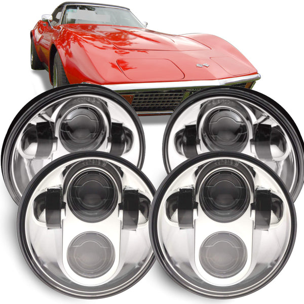 Eagle Lights Chrome Projector LED Headlight Kit for 1958 - 1982 Chevrolet Corvette