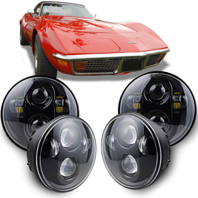 Eagle Lights Black Projector LED Headlight Kit for 1958 - 1982 Chevrolet Corvette