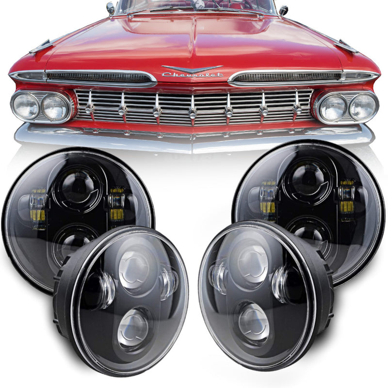 Eagle Lights Black Projector LED Headlight Kit for 1965 - 1976 Chevrolet Impala