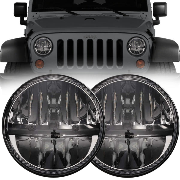 Eagle Lights Complex Reflector Chrome LED Headlight Kit for 1997-2018 Jeep Wrangler JK, JKU, TJ