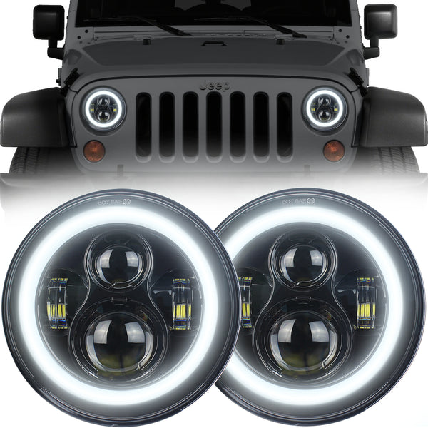 Eagle Lights Generation I Black LED Headlight Kit with Halo Ring for 1997-2018 Jeep Wrangler JK, JKU, TJ