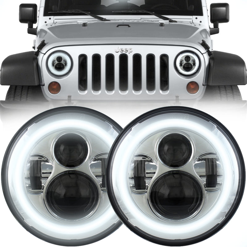 Eagle Lights Generation I Chrome LED Headlight Kit with Halo Ring for 1997-2018 Jeep Wrangler JK, JKU, TJ