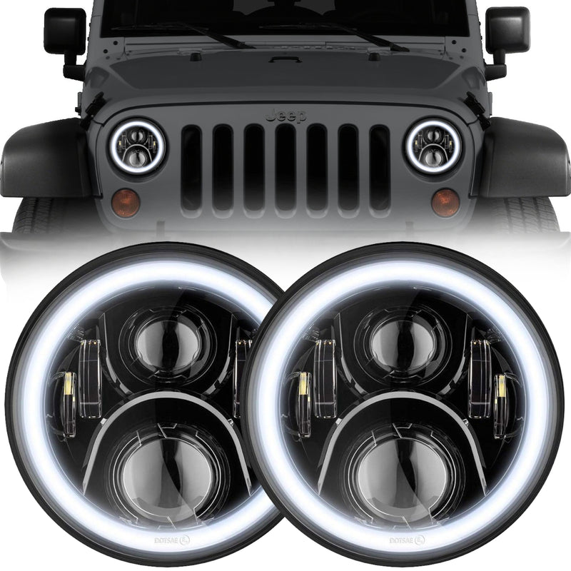 Eagle Lights Generation II Black LED Headlight Kit with Halo Ring for 1997-2018 Jeep Wrangler JK, JKU, TJ