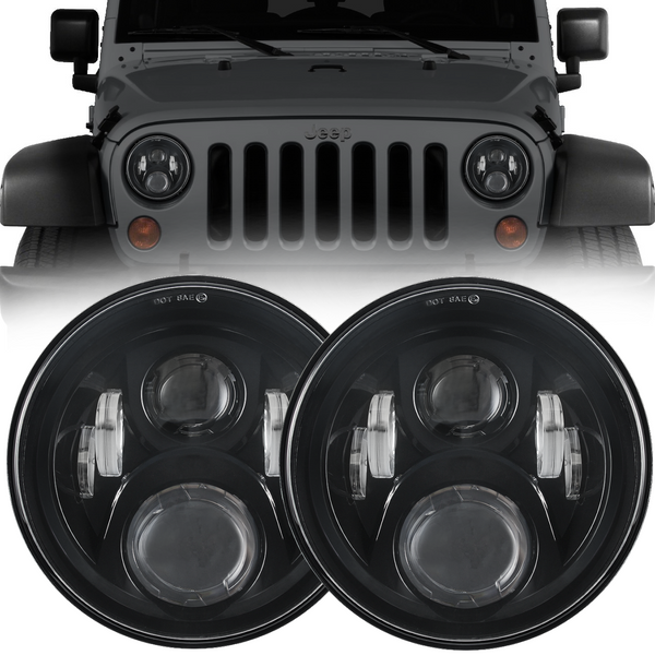 Eagle Lights Generation II Black LED Headlight Kit for 1997-2018 Jeep Wrangler JK, JKU, TJ