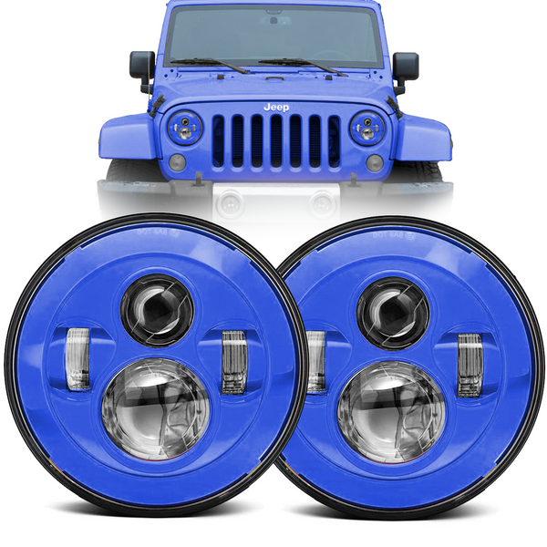 Eagle Lights Generation I Blue LED Headlight Kit for 1997-2018 Jeep Wrangler JK, JKU, TJ
