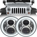 Eagle Lights Generation II Chrome LED Headlight Kit with Halo Ring for 1997-2018 Jeep Wrangler JK, JKU, TJ