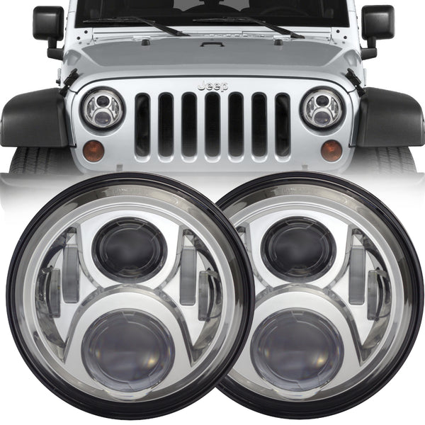Eagle Lights Generation II Chrome LED Headlight Kit for 1997-2018 Jeep Wrangler JK, JKU, TJ