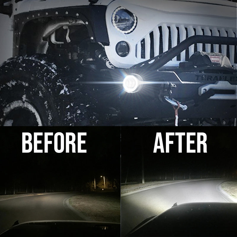 Eagle Lights 8700 Series Black LED Fog Lights for 2007-2018 Jeep Wrangler JK, JKU
