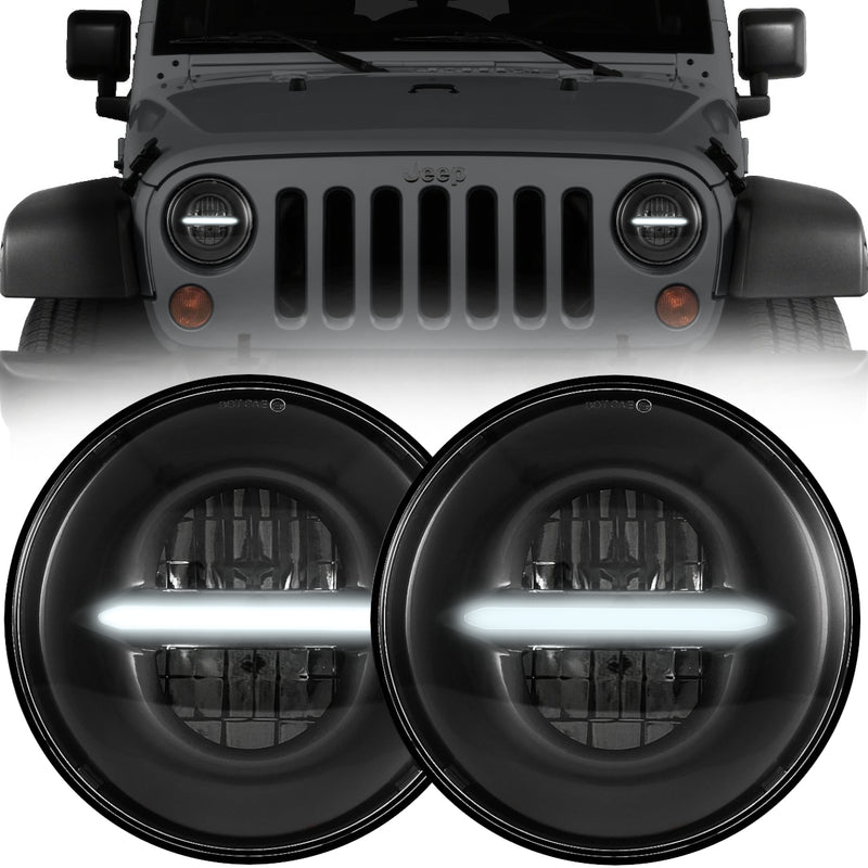 Eagle Lights Infinity Beam Black LED Headlight Kit with DRL for 1997-2018 Jeep Wrangler JK, JKU, TJ