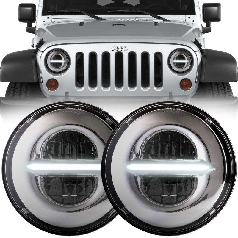 Eagle Lights Infinity Beam Chrome LED Headlight Kit with DRL for 1997-2018 Jeep Wrangler JK, JKU, TJ