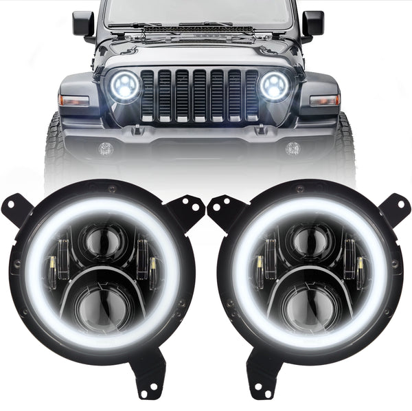 Eagle Lights Generation II Black LED Headlight Kit with Halo Ring for 2018 - Current Jeep Wrangler JL and Gladiator