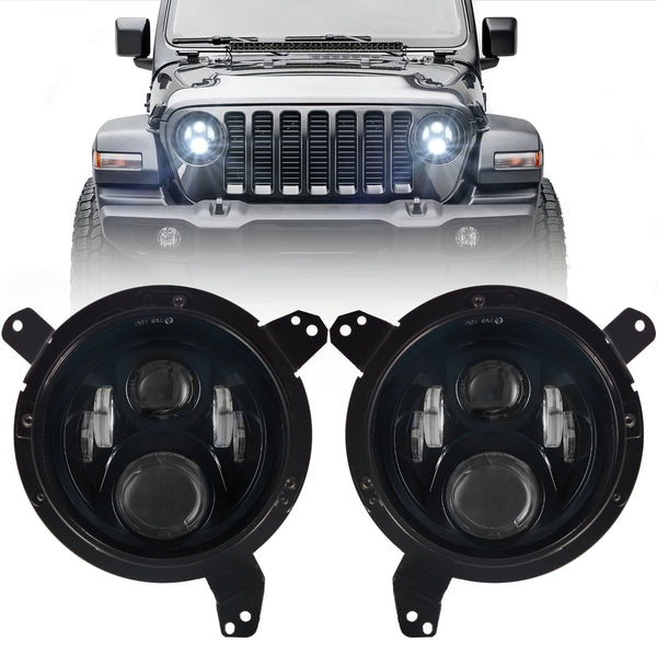 Eagle Lights Generation II Black LED Headlight Kit for 2018 - Current Jeep Wrangler JL and Gladiator
