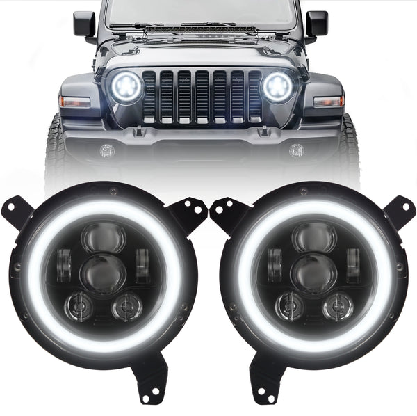 Eagle Lights Generation III Black LED Headlight Kit with Halo Ring for 2018 - Current Jeep Wrangler JL and Gladiator