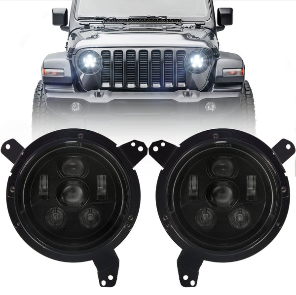 Eagle Lights Generation III Black LED Headlight Kit for 2018 - Current Jeep Wrangler JL and Gladiator