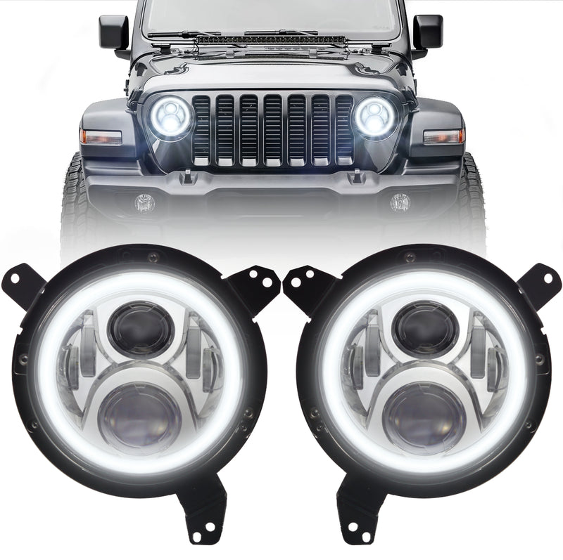 Eagle Lights Generation II Chrome LED Headlight Kit with Halo Ring for 2018 - Current Jeep Wrangler JL and Gladiator