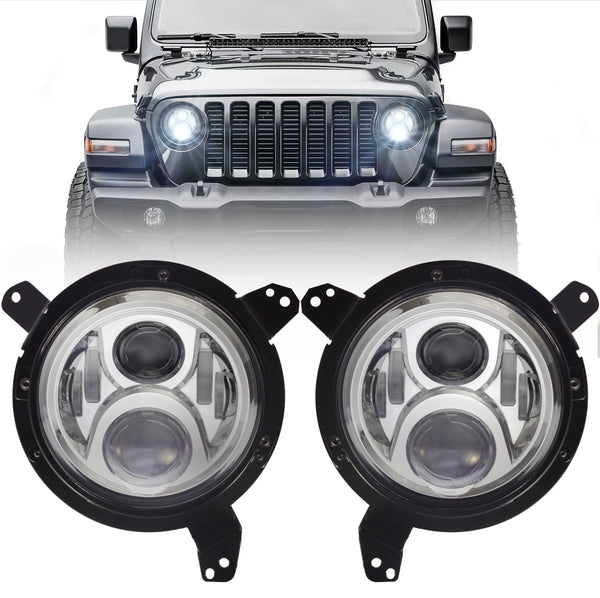 Eagle Lights Generation II Chrome LED Headlight Kit for 2018 - Current Jeep Wrangler JL and Gladiator
