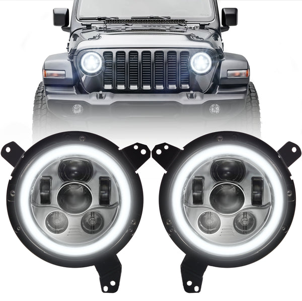 Eagle Lights Generation III Chrome LED Headlight Kit with Halo Ring for 2018 - Current Jeep Wrangler JL and Gladiator