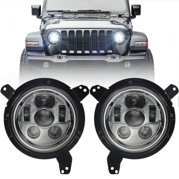 Eagle Lights Generation III Chrome LED Headlight Kit for 2018 - Current Jeep Wrangler JL and Gladiator