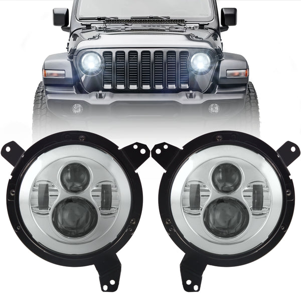 Eagle Lights Generation I Chrome LED Headlight Kit for 2018 - Current Jeep Wrangler JL and Gladiator