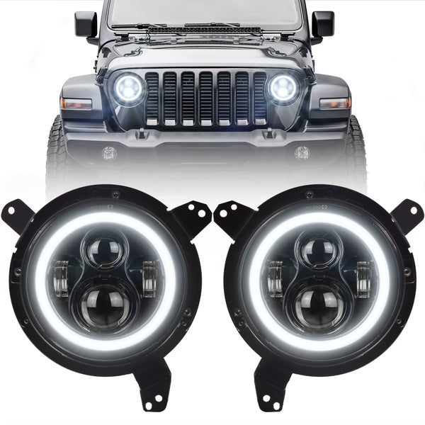 Eagle Lights Generation I Black LED Headlight Kit for 2018 - Current Jeep Wrangler JL and Gladiator