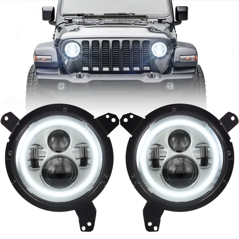 Eagle Lights Generation I Chrome LED Headlight Kit with LED Halo Ring for 2018 - Current Jeep Wrangler JL and Gladiator