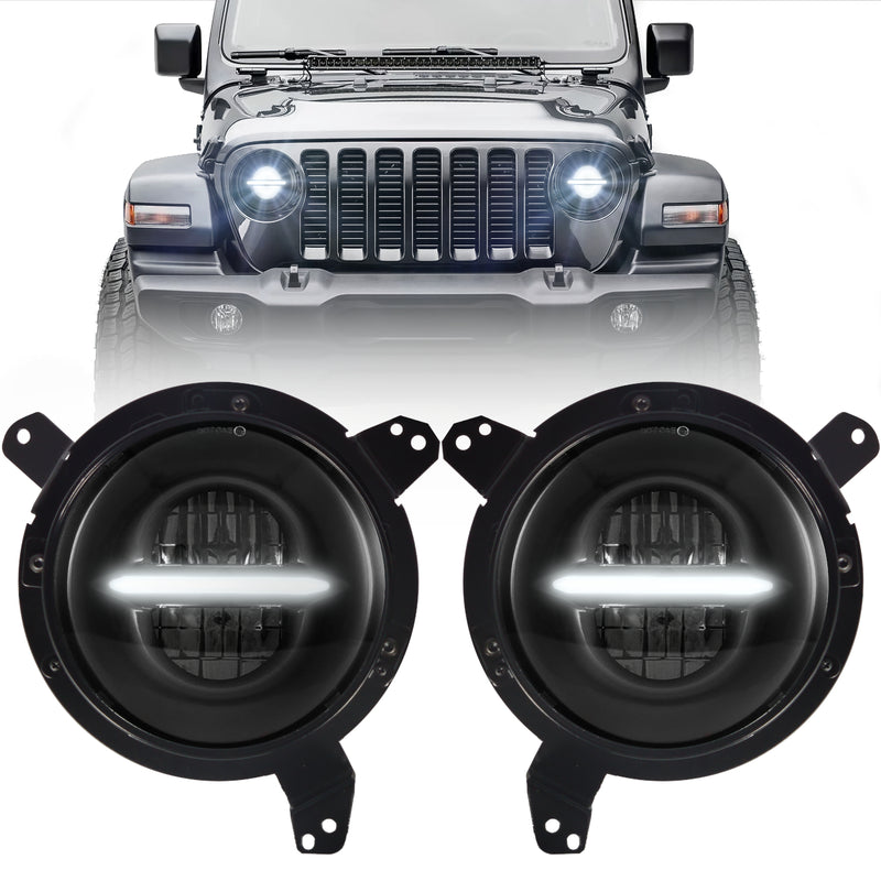 Eagle Lights Infinity Beam Black LED Headlight Kit with DRL for 2018 - Current Jeep Wrangler JL and Gladiator