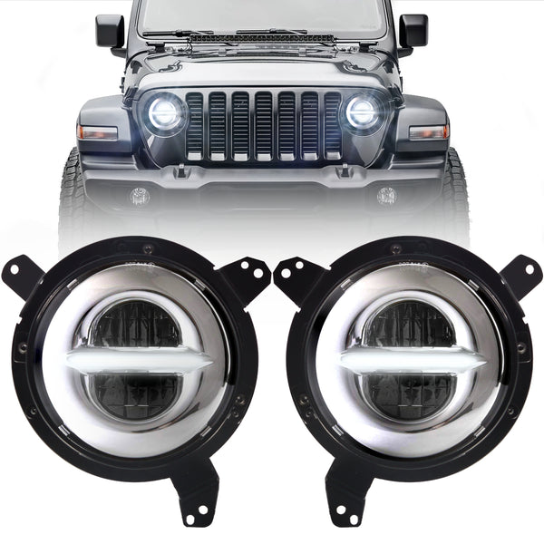 Eagle Lights Infinity Beam Chrome LED Headight Kit with DRL for 2018 - Current Jeep Wrangler JL and Gladiator
