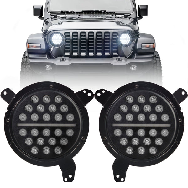 Eagle Lights SLIM LINE Black LED Headlight Kit for 2018 - Current Jeep Wrangler JL and Gladiator