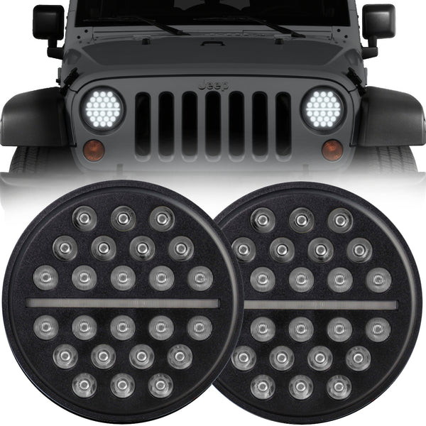 Eagle Lights SLIMLINE Black LED Headlight Kit for 1997-2018 Jeep Wrangler JK, JKU, TJ