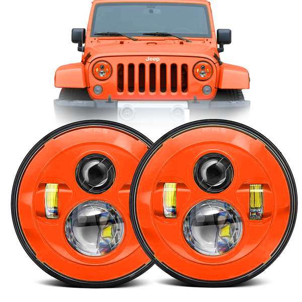 Eagle Lights Generation I Orange LED Headlight Kit for 1997-2018 Jeep Wrangler JK, JKU, TJ
