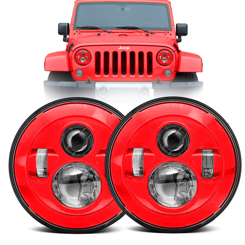 Eagle Lights Generation I Red LED Headlight Kit for 1997-2018 Jeep Wrangler JK, JKU, TJ