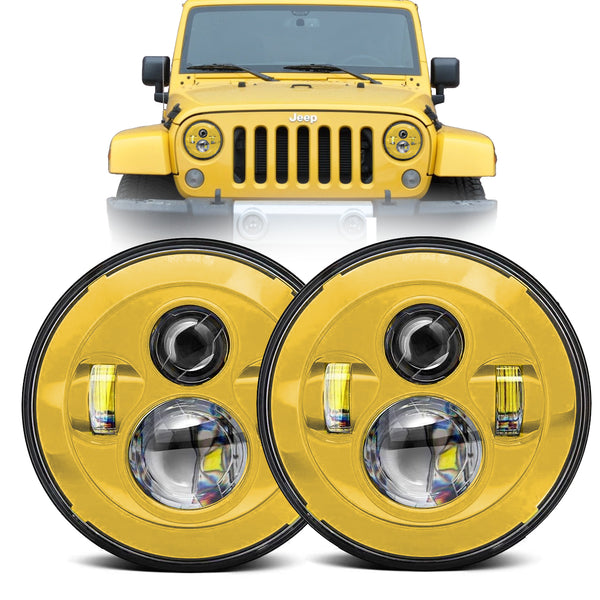 Eagle Lights Generation I Yellow LED Headlight Kit for 1997-2018 Jeep Wrangler JK, JKU, TJ