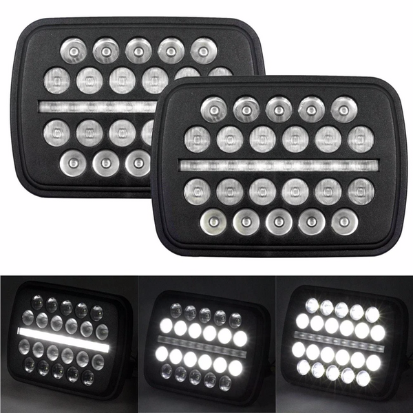 Eagle Lights SLIMLINE Black LED Headlight Kit for 1983-2004 Jeep Wrangler YJ, Cherokee XJ