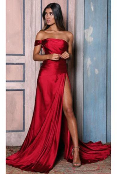 JEANIE off shoulder split satin dress