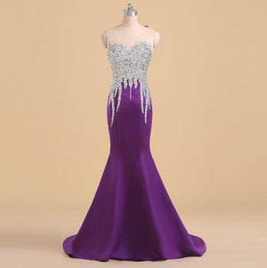 Menoqo Elegant Long Mermaid Purple Prom Dress