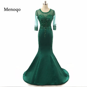 Elegant Mermaid Sheer sleeves Prom Dress