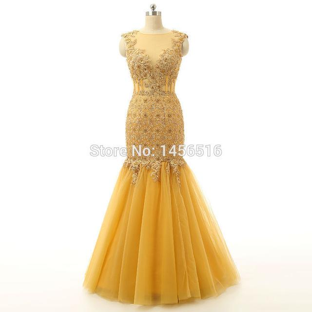 Abendkleid Gold Mermaid Cap sleeve Evening dress