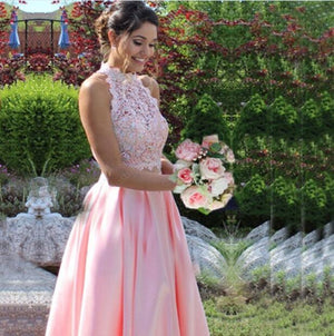 Lace Satin High Neck 2 Piece Prom Dress