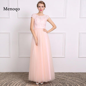 A line Cap sleeve Lace Tulle Bridesmaid Dress