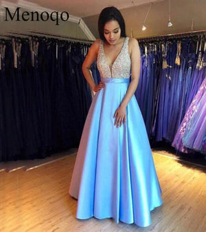 Menoqo V-Neck Evening Dress