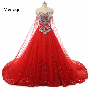 Elegant Red Ball Gown Wedding Dress