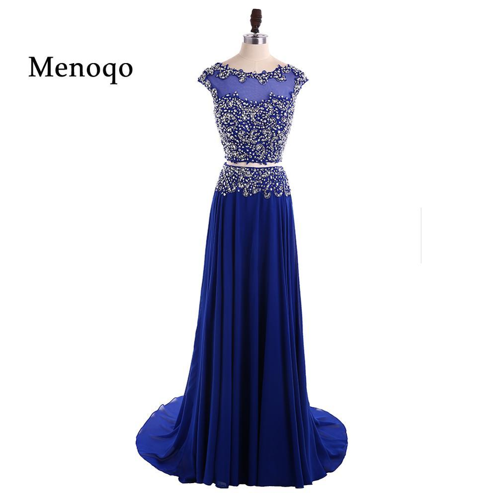 A Line Formal 2 Pieces Prom Dress
