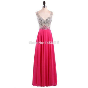 New V-Neck Evening Dress