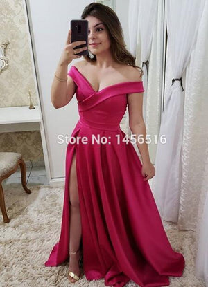A-line Long Satin Prom Dress