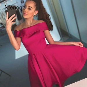 Menoqo Fuchsia Satin A-line Short Homecoming Dress