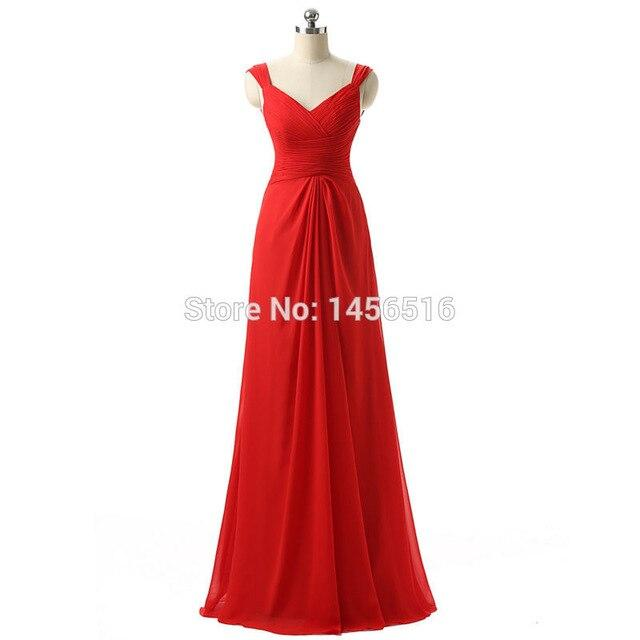 Customized V neck Red Long Bridesmaid Dress